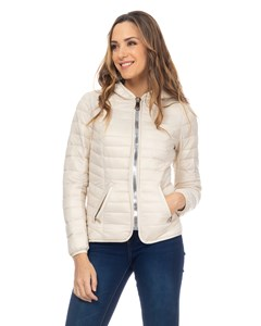 Short Down Jacket,  With Hood And Print Lining Beige