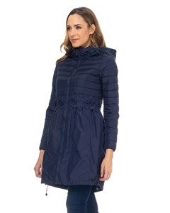 Long Down Jacket With Lace Waist Detail And Hood  Navy
