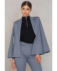 Loose Fit Cotton Blazer  Dusty Blue