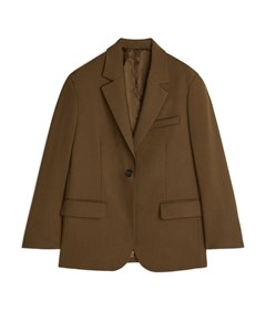 Oversized Wool Hopsack Blazer Khaki Brown