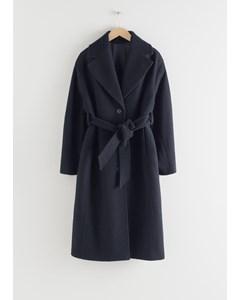 Oversized Belted Wool Coat Black