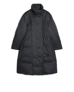 A-line Down Puffer Coat Black