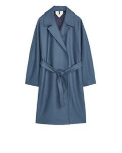 Melton Wool Belted Coat Blue