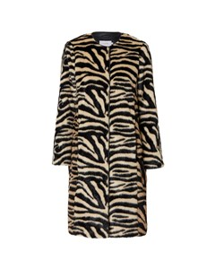 Clair Round Neck Coat Zebra Print