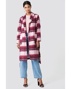 Checked Plaid Coat Pink