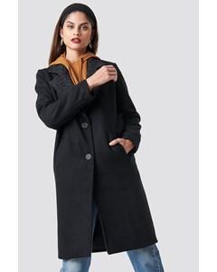 N Branded Lapel Coat Black
