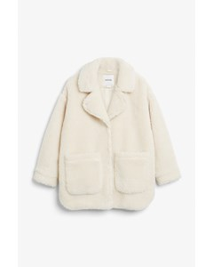 Oversized Faux Shearling Coat Cream White
