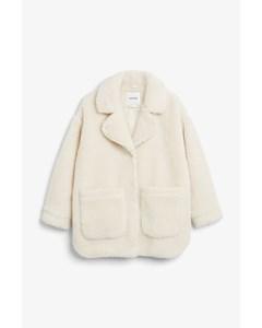 Oversized Faux Shearling Coat Cream White