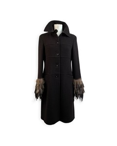 Fendi Black Cashmere And Wool Coat With Fur Trim Size 40