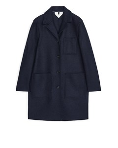 Jersey Wool Coat Dark Blue