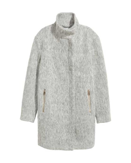 Wool-blend Coat Grey - Straight-cut coat in a felted wool blend with a high, stand-up collar with concealed press-studs. Zip and wind flap down the front and zipped side pockets. Lined. The wool content of the coat is recycled.