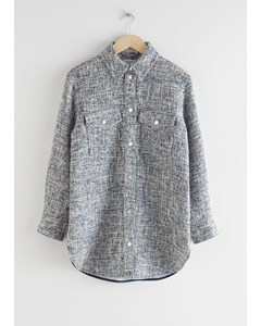 Oversized Tweed Shirt Jacket Blue Tweed