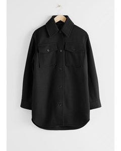 Long Wool Blend Workwear Shirt Black