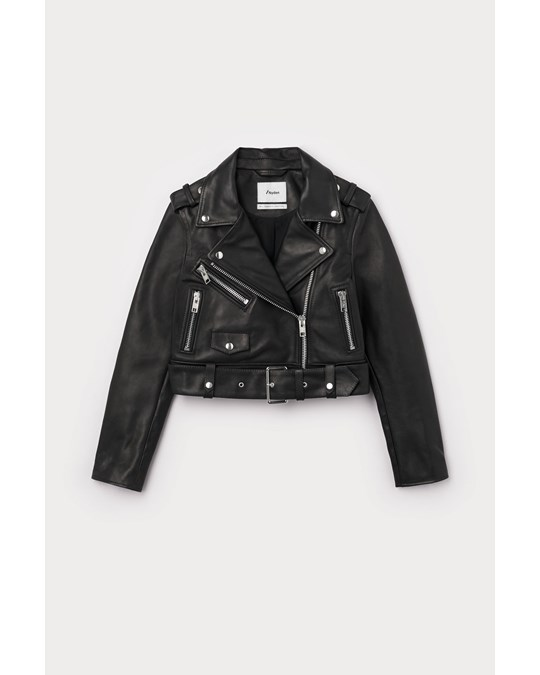 Nyden Cropped Leather Jacket Black