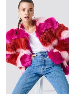 Multi Colour Faux Fur Jacket Pink