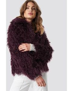 Faux Fur Short Jacket Burgundy