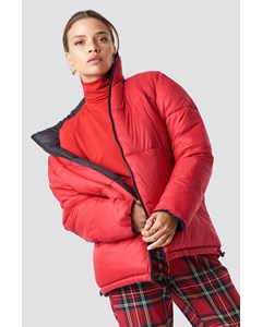 Contrast Puffer Jacket Red