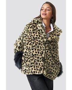 Sleeve Detailed Faux Fur Leo Jacket Leo