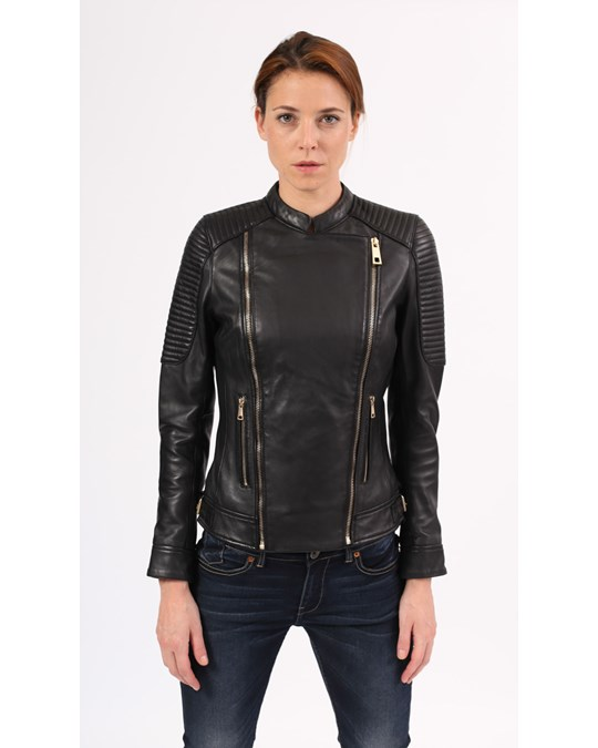 Blue Wellford Blue Welford  - Mao Leather Jacket With Mao Collar, Zip Fastening Valentina - Woman