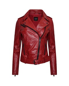 Women's Real Leather Red Biker Jacket With Waist Belt
