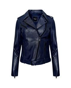 Women's Real Leather Midnight Blue Biker Jacket With Waist Belt