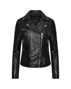 Women's Real Leather Asymmetric Jacket With Ribbed Panelling