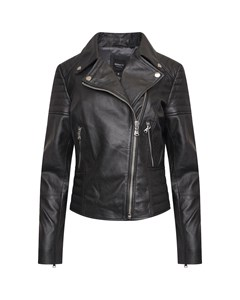 Real Leather Women's Asymmetric Biker Jacket With Shoulder And Waist Detailing