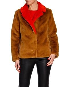 Stand Jacket Mariska Faux Fur Velvety Camel/red