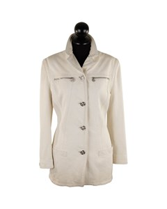 Gianni Versace Vintage White Leather Jacket With Medusa Details