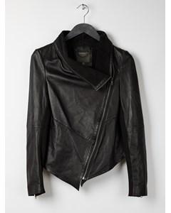 Muubaa Sabina Draped Leather Jacket  Black