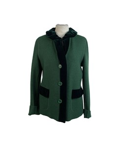 Aspesi Vintage Green Wool Jacket With Velvet Trim Size 46