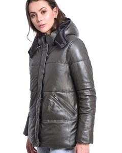 Quilted Leather Down Jacketspears