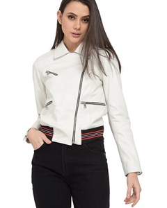 Short Leather Jacket With Zips Central 62761