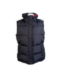 Prada Blue Nylon Sleeveless Down Jacket Vest With Hood Size 46