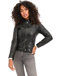 Biker Style Short Leather Jacket