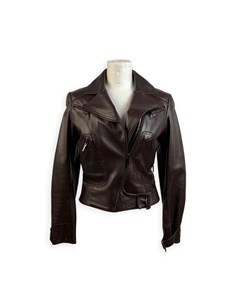 Christian Dior Brown Leather Women Biker Jacket Size 36