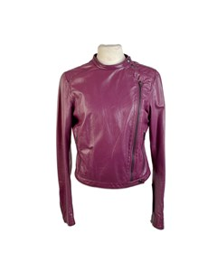Miu Miu Purple Asymmetric Zip Biker Style Jacket Size 40