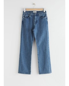 Cropped High Rise Jeans Mid Blue