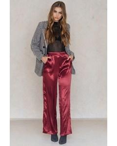 Metallic Flared Pants  Dark Red