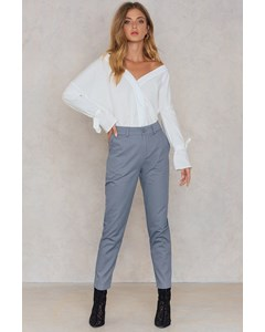 Loose Fit Cotton Pants  Dusty Blue