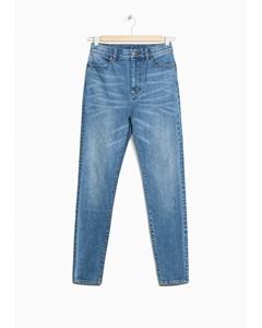 Slim Fit Jeans mit hoher Taille, Mitternachtsblau
