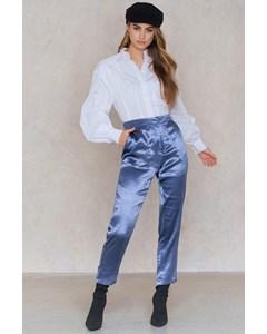 Metallic Straight Pants  Dusty Blue