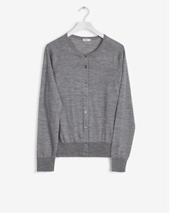 Merino Short Cardi Light Grey
