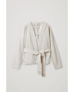 Belted Cotton-linen Cardigan Light Taupe