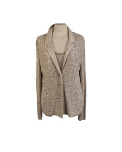 Amina Rubinacci Beige Linen Knit Sequined Twin Set Cardigan And Top