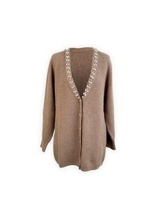 Blumarine Beige Ribbed Wool Embellshed Cardigan Size 44