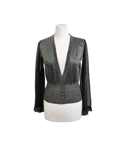 Missoni Silver Tone Lurex Cardigan With Flared Sleeves Size 38