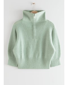 Fuzzy Zip Collar Knit Top Green