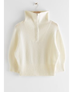 Fuzzy Zip Collar Knit Top Creme