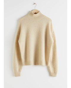 Alpaca Blend Mock Neck Sweater Beige